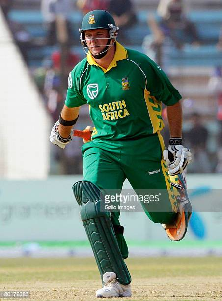 Graeme Smith of South Africa runs a single on his way to scoring 50 runs during the 1st One Day International match between Bangladesh and South...