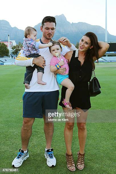 Graeme Smith of South Africa stands with his wife Morgan Deane and children Cadence and Carter after the match during day 5 of the third test match...