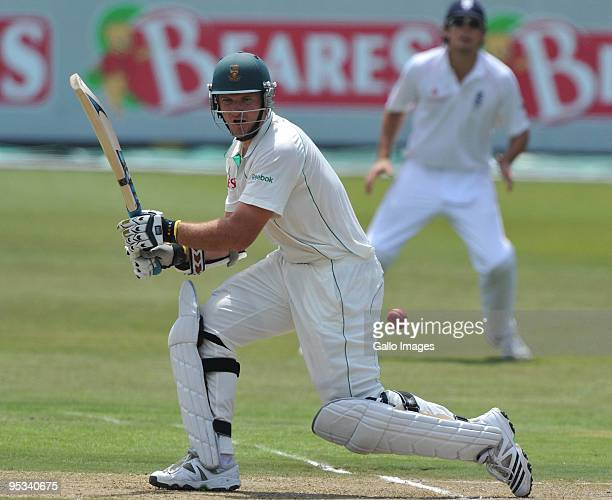 Graeme Smith of South Africa with a squarecut during day 1 of the 2nd test match between South Africa and England from Sahara Stadium Kingsmead on...