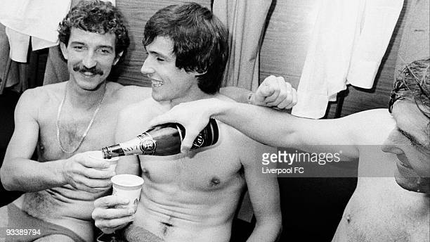 Graeme Souness and Alan Hansen of Liverpool celebrate winning the the League Championship title in Bob Paisley's last ever season in charge of the...