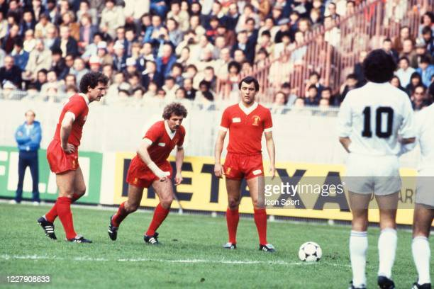 Graeme SOUNESS and Alan KENNEDY of Liverpool during the European Cup Final match between Liverpool FC and Real Madrid CF at Parc des Princes Paris...