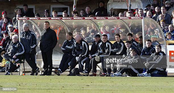 Graeme Souness looks on during the FA Cup 4th Round match between Cheltenham Town and Newcastle United played at Whaddon Road on January 28, 2006 in...