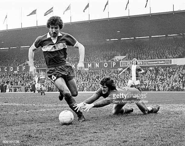 Graeme Souness of Middlesbrough protecting goalkeeper Jim Platt during their FA Cup 6th Round match against Birmingham City at St Andrews in...