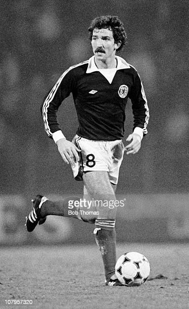 Graeme Souness of Scotland in action against Belgium during their European Championship Qualifying match held at the Heysel Stadium in Brussels on...