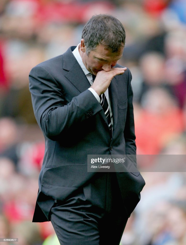 Graeme Souness, the manger of Newcastle United, walks off dejcted after the Barclays Premiership match between Manchester United and Newcastle United at Old Trafford on April 24, 2005 in Manchester, England.