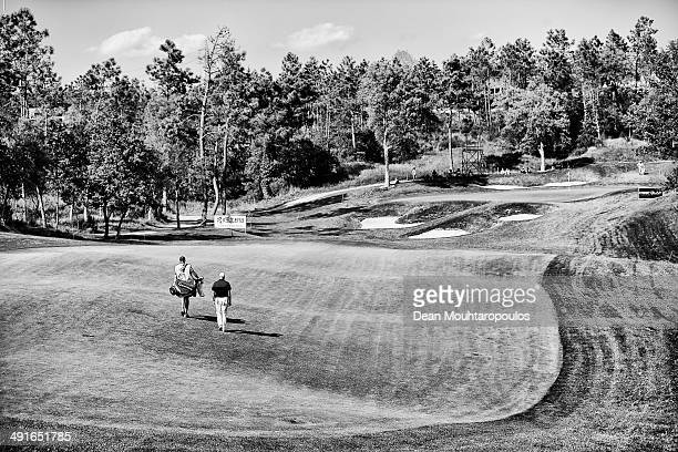 Graeme Storm of England and his caddie walk on the 9th hole during Day 2 of the Open de Espana held at PGA Catalunya Resort on May 16 2014 in Girona...