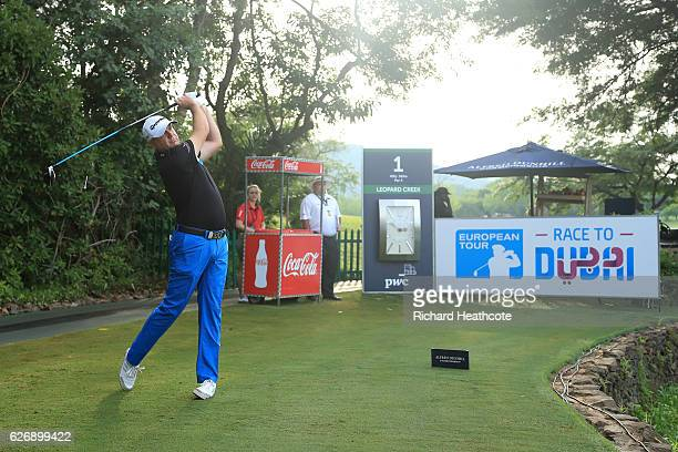 Graeme Storm of England hits the first tee shot of the tournament on the first week of the 2017 European Tour Season during the first round of the...