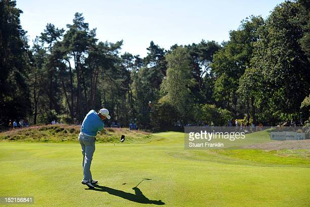 Graeme Storm of England in action during the final round of the KLM Open at Hilversumsche Golf Club on September 9 2012 in Hilversum Netherlands