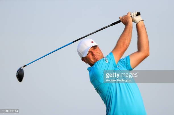Graeme Storm of England in action during the Pro Am prior to the start of the NBO Oman Open at Al Mouj Golf on February 14 2018 in Muscat Oman