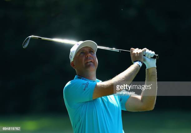 Graeme Storm of England play his second shot into the third green during the final round of the Lyoness Open at Diamond Country Club on June 11 2017...