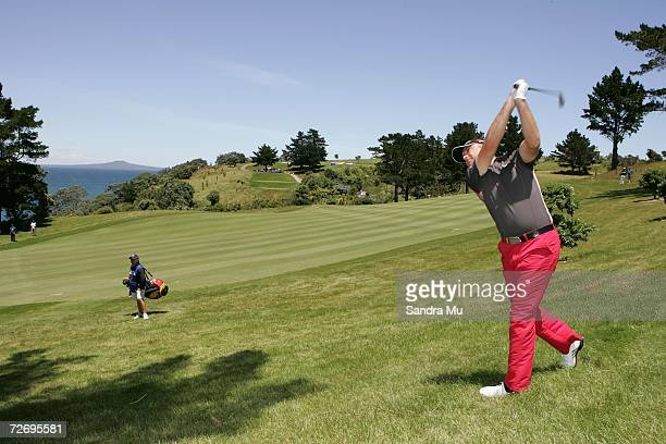Graeme Storm of England plays a shot on the 16th fairway during round three of the New Zealand Open at Gulf Harbour Country Club on the Whangaparoa...