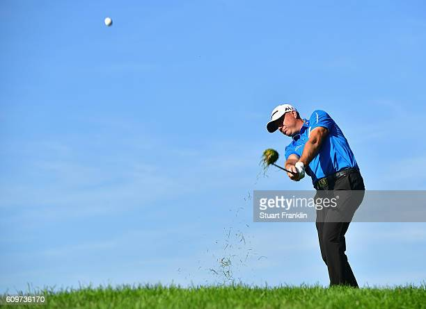 Graeme Storm of England plays an iron shot during day one of the Porsche European Open at Golf Resort Bad Griesbach on September 22 2016 in Passau...