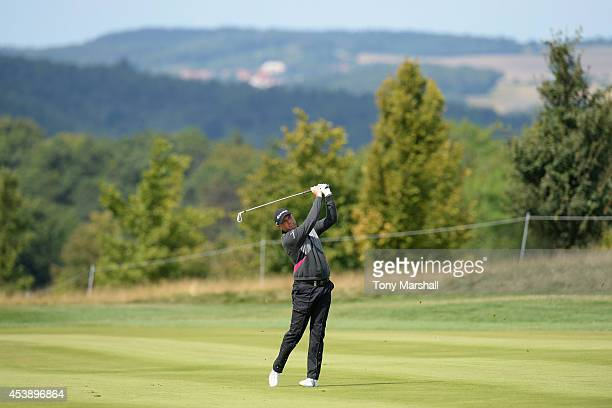 Graeme Storm of England plays his second shot on the 9th fairway during day one of DD REAL Czech Masters at Albatross Golf Resort on August 21 2014...