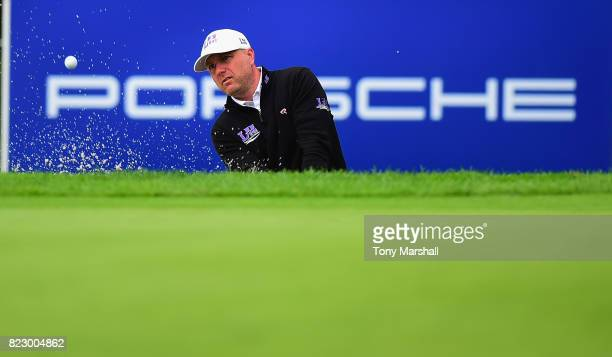 Graeme Storm of England plays out of a bunker on to the 3rd green during the Porsche European Open Pro Am at Green Eagle Golf Course on July 26 2017...