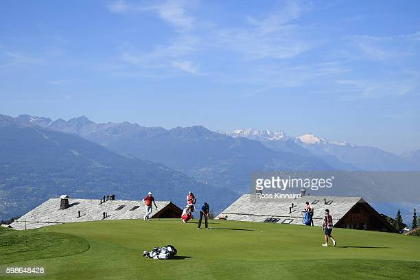 Graeme Storm of England putts on the seventh hole during the second round of the Omega European Masters at CranssurSierre Golf Club on September 2...