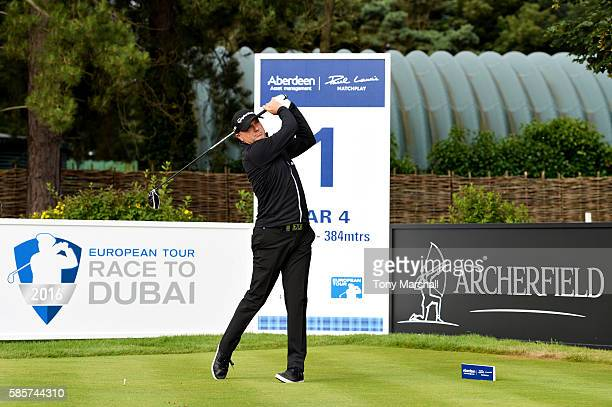 Graeme Storm of England tees off on hole 1 on day one of the Aberdeen Asset Management Paul Lawrie Matchplay at Archerfield Links Golf Course on...