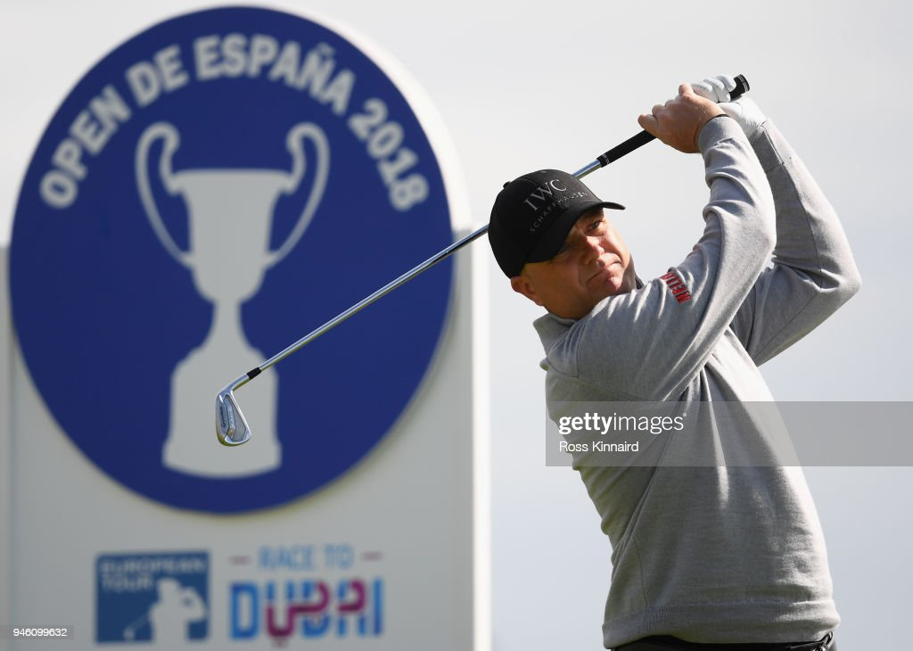 Graeme Storm of England tees off on the par three 14th hole during the third round of the Open de Espana at Centro Nacional de Golf on April 14, 2018 in Madrid, Spain.