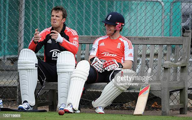 Graeme Swann and Eoin Morgan of England during a nets session at Edgbaston on August 9 2011 in Birmingham England