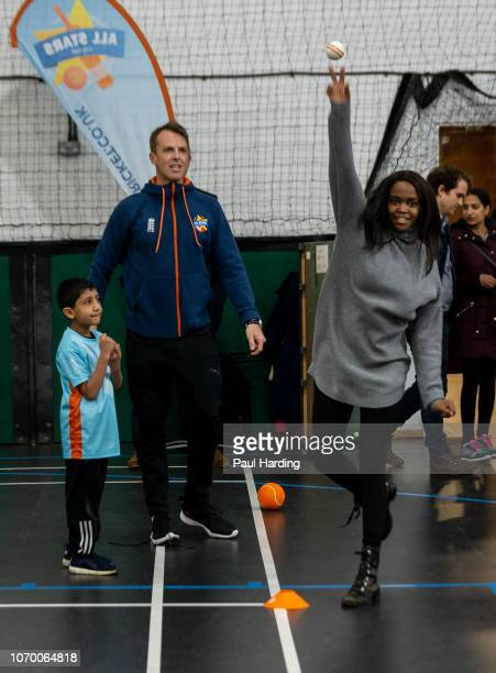 Graeme Swann and Oti Mabuse attend an All Stars Cricket session as part of the ECB's South Asian Action plan Sport England funding announcement on...