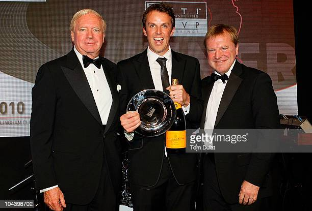 Graeme Swann is presented with the FTI England Player of the Summer Award during the NatWest PCA Awards Dinner 2010 at The Hurlingham Club on...