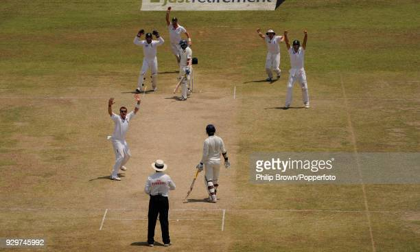Graeme Swann of England appeals successfully for the wicket of Tillakaratne Dilshan of Sri Lanka caught by James Anderson for 35 during the 2nd Test...
