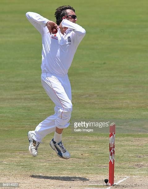 Graeme Swann of England bowls during day four of the first test match between South Africa and England at Centurion Park on December 19 2009 in...