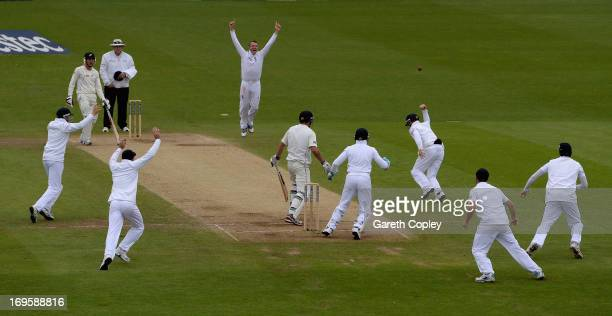 Graeme Swann of England celebrates after Ian Bell catches out Doug Bracewell of New Zealand during day five of 2nd Investec Test match between...