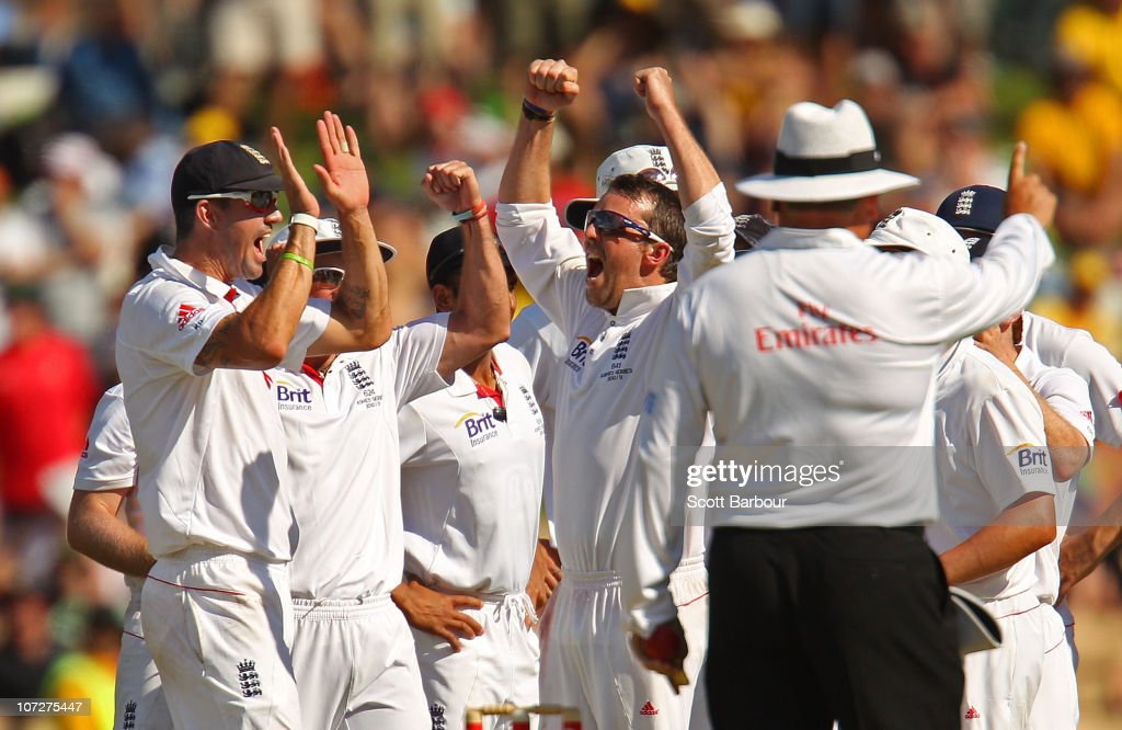 Graeme Swann of England celebrates as Ryan Harris of Australia is dismissed LBW after referring to the third umpire during day one of the Second Ashes Test match between Australia and England at Adelaide Oval on December 3, 2010 in Adelaide, Australia.