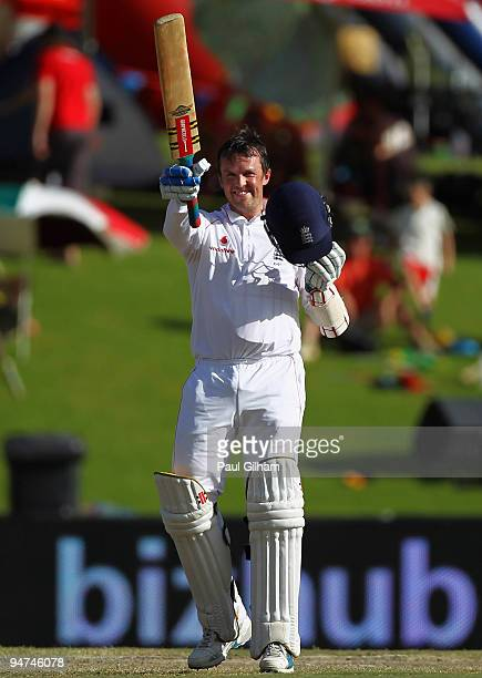 Graeme Swann of England celebrates making a halfcentury during day three of the first test match between South Africa and England at Centurion Park...