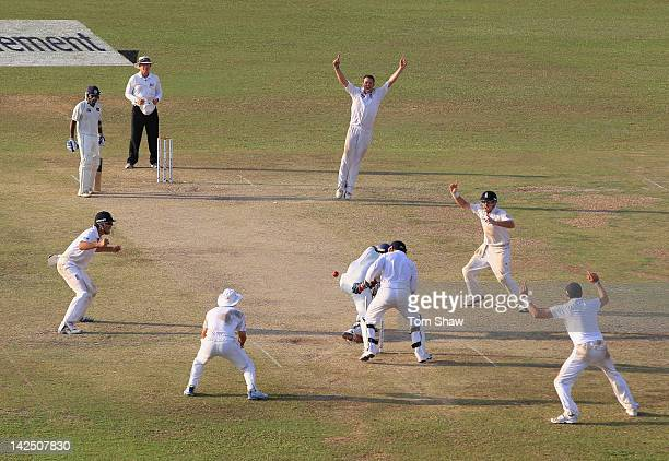 Graeme Swann of England celebrates taking the wicket of Suraj Randiv of Sri Lanka during day 4 of the 2nd test match between Sri Lanka and England at...