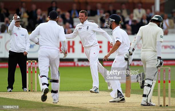 Graeme Swann of England celebrates the wicket of Azhar Ali of Pakistan during day three of the 4th npower Test Match between England and Pakistan at...
