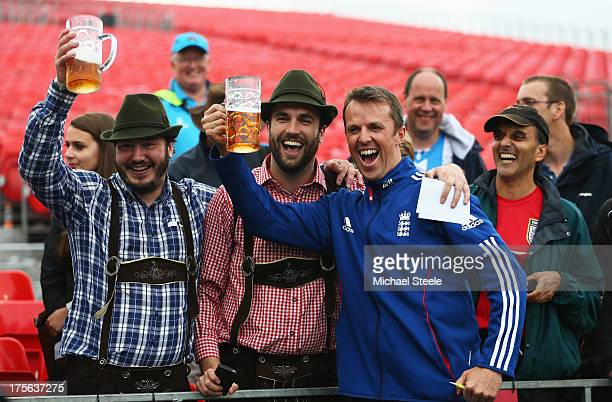 Graeme Swann of England celebrates with fans after England retained the Ashes during day five of the 3rd Investec Ashes Test match between England...