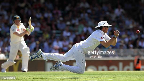 Graeme Swann of England drops a catch from Peter Siddle of Australia during day three of the Third Ashes Test match between Australia and England at...