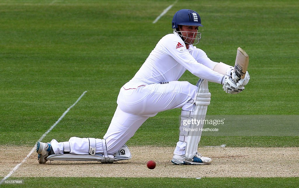 Graeme Swann of England hits a reverse sweep during day two of the 1st npower Test between England and Bangladesh at Lords on May 28, 2010 in London, England.