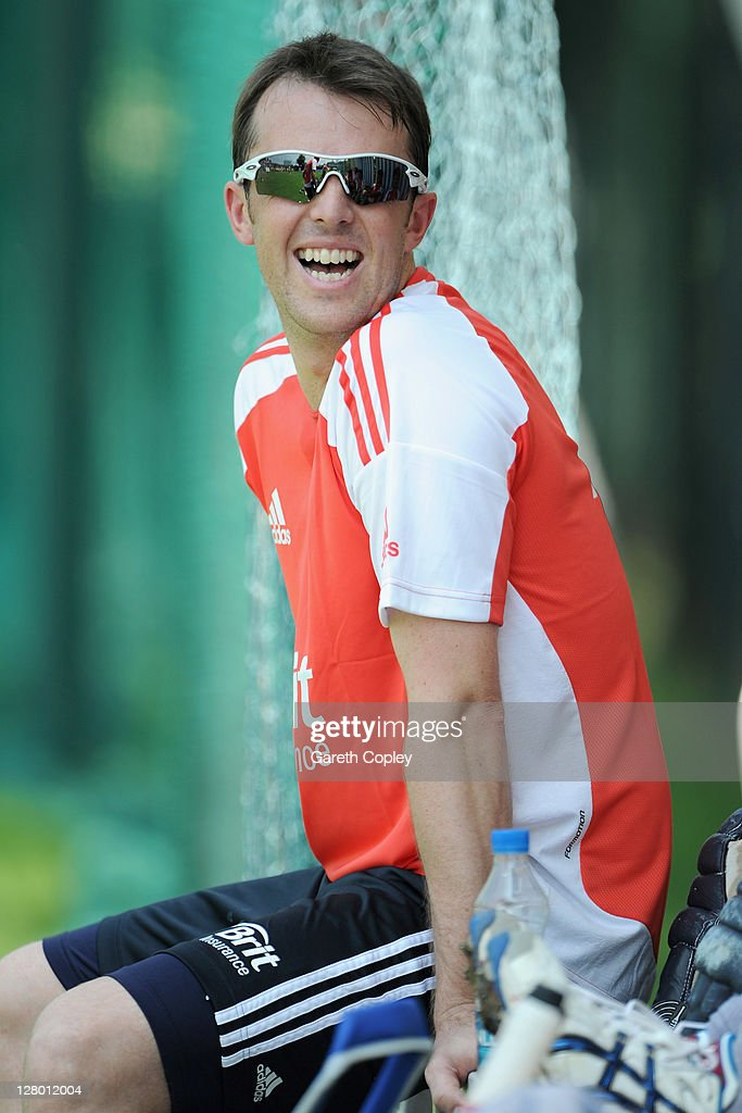 Graeme Swann of England laughs during a nets session at The Rajiv Gandhi International Cricket Stadium on October 5, 2011 in Hyderabad, India.