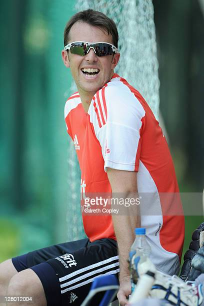 Graeme Swann of England laughs during a nets session at The Rajiv Gandhi International Cricket Stadium on October 5 2011 in Hyderabad India