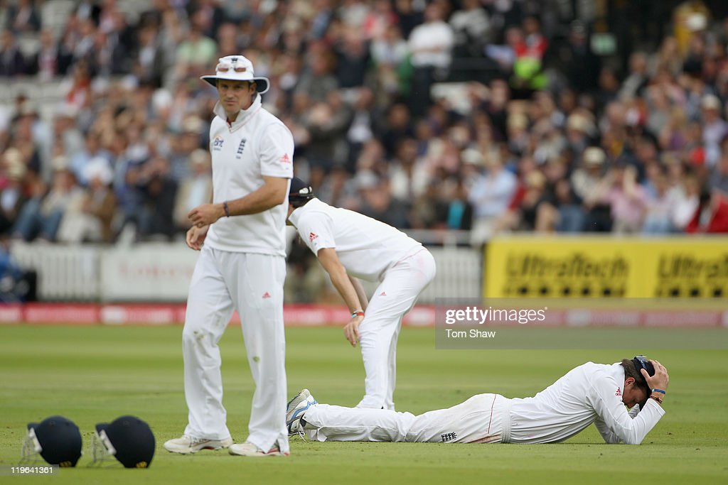 Graeme Swann of England looks on dejected after dropping a catch during day 3 of the 1st Npower Test match between England and India at Lord's Cricket Ground on July 23, 2011 in London, England.