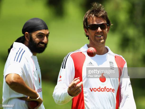 Graeme Swann of England shares a joke with Monty Panesar during an England nets session at The Wanderers Cricket Ground on January 11 2010 in...