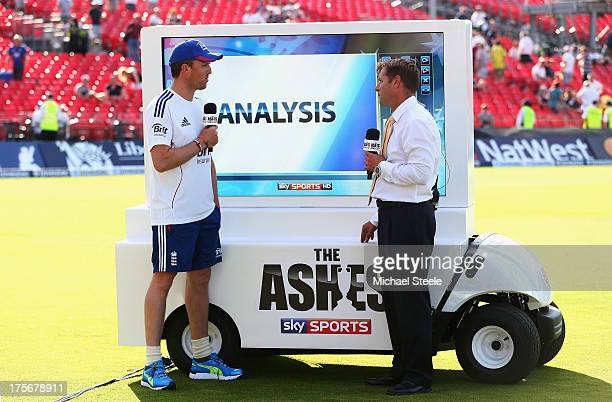 Graeme Swann of England talks to Ian Ward at the Sky Sports analysis board after day two of the 3rd Investec Ashes Test match between England and...