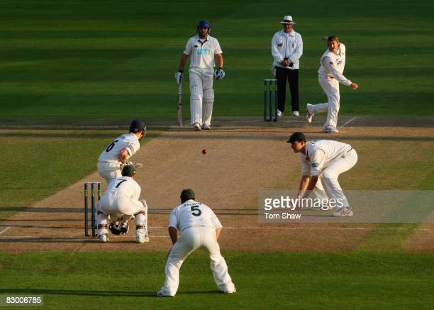 Graeme Swann of Nottingham bowls during the LV County Championship match between Nottingham and Hampshire at Trent Bridge on September 25 2008 in...