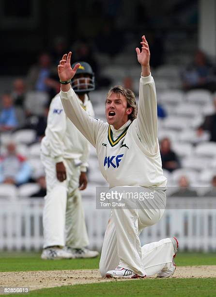 Graeme Swann of Nottinghamshire appeals unsuccessfully during the LV County Championship match between Surrey and Nottinghamshire at the Brit Oval on...