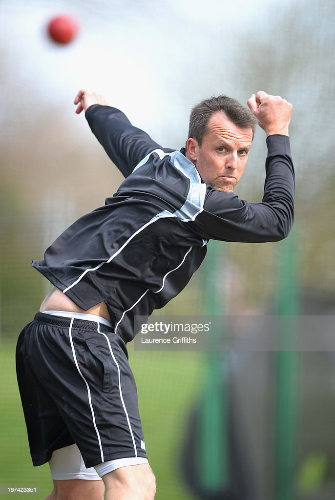 Graeme Swann of Nottinghamshire bowls in the nets after coming back from injury during day two of the LV County Championship division one match between Derbyshire and Nottinghamshire at The County Ground on April 25, 2013 in Derby, England.