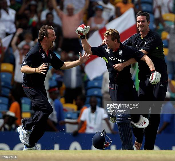 Graeme Swann, Paul Collingwood and Kevin Pietrersen celebrate there victory in the final of the ICC World Twenty20 between Australia and England...
