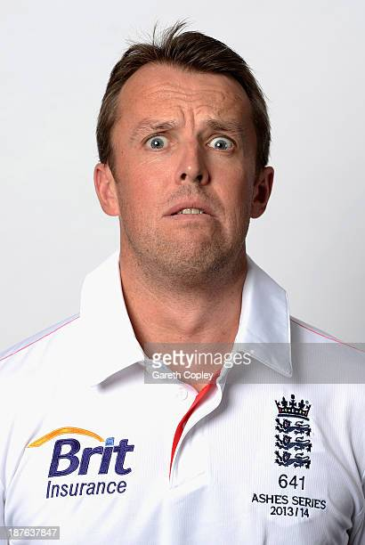 Graeme Swann pulls a funny face during an England cricket headshots session at the InterContinental Sydney on November 11 2013 in Sydney Australia