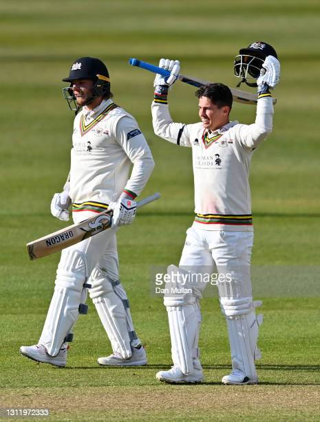 Graeme van Buuren of Gloucestershire celebrates reaching his century during day four of the LV= County Championship match between Gloucestershire and...