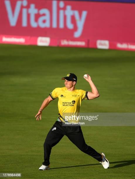 Graeme van Buuren of Gloucestershire fields during the Vitality Blast 2020 Semi Final match between Surrey and Gloucestershire at Edgbaston on...