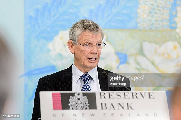 Graeme Wheeler governor of the Reserve Bank of New Zealand speaks during a news conference at the central bank's headquarters in Wellington New...