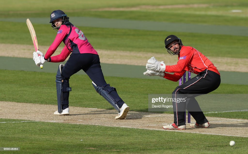 Graeme White of Northamptonshire plays the ball off his legs during the Royal London One-Day Cup match between Northamptonshire and Leicestershire at The County Ground on May 17, 2018 in Northampton, England.