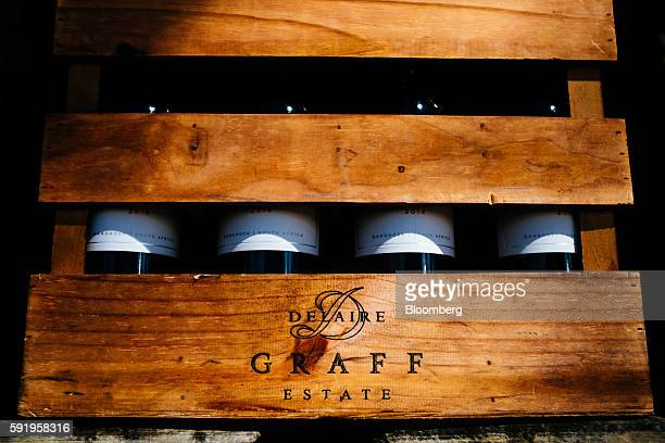 A Graff logo sits on display on a wooden wine box at the Delaire Graff Estate in Stellenbosch South Africa on Thursday Aug 18 2016 Billionaire...