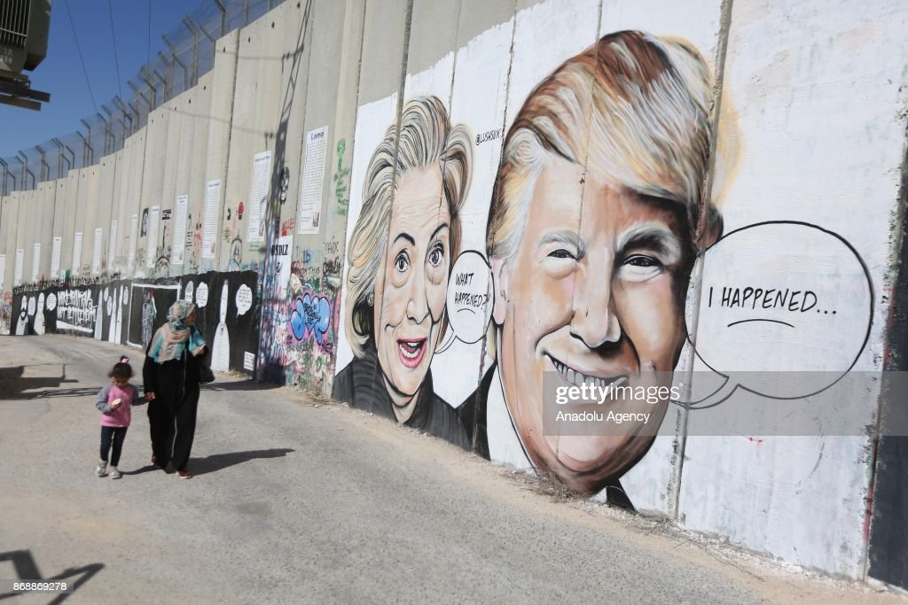 Graffiti art on Seperation wall in West Bank : News Photo